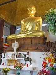 Ancien musée du Bois, actuellement Institut International Bouddhique -  Le grand Bouddha de la pagode de Vincennes   La pagode du bois de Vincennes a été installée dans l'ancien pavillon du Cameroun, un des vestiges de l'exposition coloniale de 1931 (architecte:  Louis-Hippolyte Boileau) qui a été restauré. Elle abrite le plus grand Bouddha d'Europe qui est recouvert de feuilles d'or et mesure, avec son socle, plus de 9 mètres de haut.  Dans l'enceinte de la pagode de Vincennes fut également construit entre 1983 et 1985 le temple bouddhiste tibétain de Kagyu-Dzong.       La pagode de Vincennes est occupée par diverses obédiences des écoles bouddhiques de la région parisienne <a href=