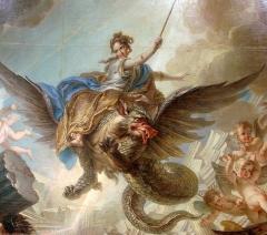 Manufacture nationale des Gobelins - La Destruction du palais d'Armide ( détail ), par Charles-Antoine Coypel, huile sur toile, 1737. Carton de tapisserie pour la tenture des