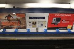 Métropolitain, station Place d'Italie - Français:   Vue latérale du quai direction Nation de la station du métro parisien Place d\'Italie (ligne 6). On y voit des sièges \