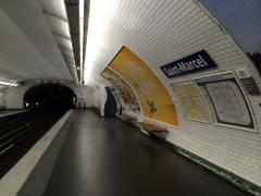 Métropolitain, station Saint-Marcel -  Ligne 5 - Quai Saint Marcel