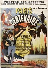 Théâtre des Gobelins  , actuellement cinéma Fauvette -  Théâtre des Gobelins... Paris centenaire revue... de MM. Lemonnier.: affiche