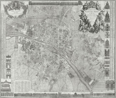 Cimetière Montparnasse - English: Map of Paris 1728, Nouveau plan de Paris et de ses faubourgs