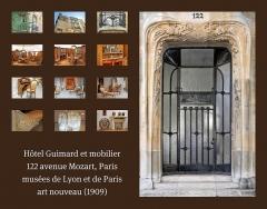 Ancien hôtel particulier d'Hector Guimard -  L'hôtel Guimard est un immeuble de style art nouveau conçu en 1909-1912 par Hector Guimard au 122 avenue Mozart à Paris pour lui servir de demeure et de bureau d'études. A cette occasion, Guimard a déménagé son agence du Castel Béranger. (voir l'album du Castel Béranger) www.flickr.com/photos/dalbera/sets/72157626018347091/with... L'hôtel Guimard a été construit sur un terrain triangulaire de 90 m2. Hector Guimard a tout dessiné y compris le mobilier, les motifs des moquettes, des rideaux et du linge de table. Après la mort d'Hector Guimard en 1942, sa veuve, le peintre Adeline Oppenheim-Guimard (1872-1962) a proposé en 1948 de donner l'immeuble et le mobilier à l'Etat français qui a refusé le legs. Seuls quelques musées français en ont profité, notamment le musée des beaux-arts de Lyon (chambre à coucher, voir les photos dans l'album), le musée du Petit-Palais à Paris (salle à manger, voir les photos dans l'album), le musée des arts décoratifs (voir d'autres photos des productions de Guimard) et le musée de l'Ecole de Nancy (photos interdites). www.flickr.com/photos/dalbera/sets/72157626264559878/with... Inscription Monument Historique par arrêté du 4 décembre 1964 de l'hôtel. Classement par arrêté du 17 juillet 1997 des façades et toitures et du vestibule d'entrée, y compris son escalier avec la rampe. Références (le cercle Guimard) www.lecercleguimard.com/