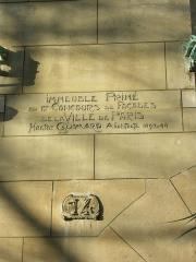 Immeuble dit Castel Béranger -  Plaque engraved wall —  of Art Nouveau Castel Béranger, Paris.