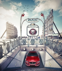 Métropolitain, station Chardon-Lagache - English:   An advertisement for Jaguar XE.
