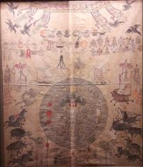 Musée Guimet - Carte appartenant au Musée Guimet, Paris. La fiche de description lors de l'exposition: «Peinture d'offrande à un dieu protecteur; au centre le mont Meru entouré par l'océan et les quatre continents de la cosmologie bouddhique, symbolisée par les figures géométriques.  Chine du Nord 18e siècle Détrempe sur toile Paris, MNAAG, achat, 1931, ancienne collection Léon Wannieck, MG 17846»