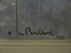 Immeuble -  Signature of Poulbot on a ceramics in the entrance corridor of the 1900 building, 43 bis rue Damrémont Paris.