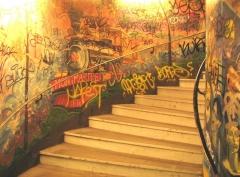 Métropolitain, station Abbesses -  Stairs at the subway station Abbesses on Paris Metro line 12. (Author: Metropolitan)