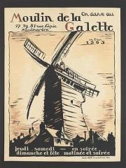 Moulin de la Galette - English:   Poster On danse au Moulin de la galette, 1925.