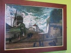Moulin de la Galette - English:   The moulin de la Galette and the rue Girardon (Paris 18th arrond., France). Preserved in Montmartre museum.