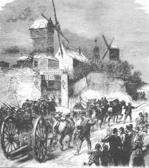 Moulin de la Galette - Esperanto:   Suprenigo de la kanonoj sur la Montmartra monteto dum la Komunumo -1871