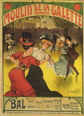 Moulin de la Galette - English:   Poster of the moulin de la Galette, Paris.