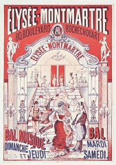 Théâtre de l'Elysée-Montmartre, ancien dancing -  Elysée-Montmartre... bal masqué dimanche et jeudi, bal mardi et samedi: affiche