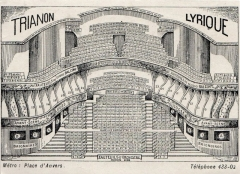 Ancien théâtre Victor Hugo, cinéma Trianon -  Seating plan of the Trianon (Trianon Lyrique) theatre, Paris,  9 x 12 cm