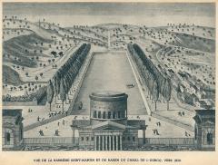Ancienne barrière d'octroi de la Villette ou rotonde de la Villette - Français:   Barrière Saint-Martin et canal de l\'Ourcq, à Paris (Seine, France) en 1800