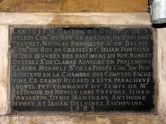 Eaux de Belleville : Regard de la Lanterne -  Plaque commémorant les travaux de constructions du regard entre 1583 et 1613