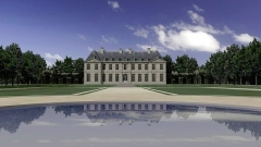 Hospice Debrousse - Français:   Vue du château de Bagnolet depuis le bassin circulaire du milieu du parterre.