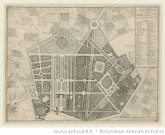 Hospice Debrousse - Français:   Plan du château de Bagnolet et de ses jardins (le nord est en bas).