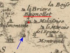 Hospice Debrousse - Français:   Localisation du Château, en bas du «fossé», vers 1700.