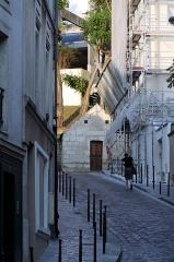 Eaux de Belleville : Regard Saint-Martin - Français:   Regard Saint-Martin (ou regard des des Petites-Rigoles), 42 rue des Cascades, Paris 20e arrdt, vu depuis la rue de Savies.