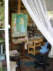 Atelier du peintre Jean-François Millet -  Atelier de la peintre Erika Gagé à Barbizon. Le jardin des arts est le dernier atelier de peinture authentique de l'époque Millet/Rousseau à Barbizon.