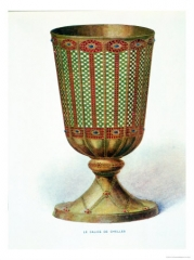 Ancienne abbaye royale -  A 17th century engraving of the gold chalice, said to have been made by Saint Eloi for Chelles Abbey in the 7th century. The chalice was lost at the time of the Revolution when Chelles was dissolved.