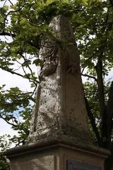 Ancienne abbaye royale - Deutsch: Gedenkstele zur Erinnerung an die erste Steinbrücke (erbaut 1739 von der Abtei in Chelles) in Chelles im Département Seine-et-Marne (Île-de-France), rue Gambetta