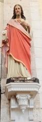 Eglise de Lorrez-le-Bocage - Français:   Jésus aurait montré son cœur à Sainte Marguerite-Marie en disant:«Voilà ce Cœur qui a tant aimé les hommes, [...] jusqu'à s'épuiser et se consommer pour leur témoigner son amour, et pour reconnaissance je ne reçois de la plupart que des ingratitudes...» Voir le site de Paray-le-Monial: http://sanctuaires-paray.com/