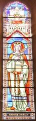 Eglise de Lorrez-le-Bocage - Français:   Sainte Amélie (690): Amalberge ou Amalia. Originaire du Hainaut, non loin de Braine-le-Comte, elle fut orpheline très jeune. Elle épousa un seigneur de la région, Witger duc de Lorraine, et leur famille fut heureuse de la paix qui jaillissait de parents attentifs et aimants. Trois de leurs enfant furent reconnus comme des saints: saint Emelbert évêque de Cambrai, sainte Gudule et sainte Renelde. Lorsque Witger préféra se retirer chez les bénédictins de Lobbes, elle entre chez les bénédictines de Maubeuge. Son biographe ajoute: \