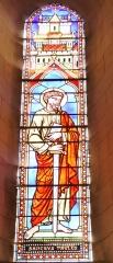 Eglise de Lorrez-le-Bocage - Français:   Saint Paul: Paul, né à Tarse était un pharisien. Il prit d\'abord part aux persécutions contre les chrétiens. Mais sur la route de Damas, il eut une vision qui l\'amena à se convertir. Dès lors, après avoir été baptisé par Ananias, il se mit à prêcher, fonda diverses communautés et vécut à Rome pendant trois ans. C\'est là qu\'il fut tué sous le règne de Néron, aux alentours de l\'an 65. Il est le protecteur des théologiens et de la presse catholique.