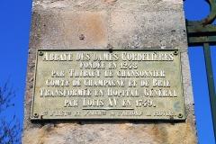 Ancien couvent des Cordelières - English: Couvent des Cordelières, Provins. Plaque.