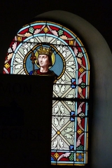 Eglise Saint-Amand - Deutsch: Bleiglasfenster in der katholischn Pfarrkirche Saint-Amand in Thomery im Département Seine-et-Marne (Île-de-France), Darstellung: Ludwig der Heilige