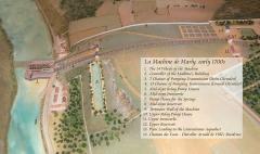 Bâtiments de la machine de Marly (également sur commune de Louveciennes) - English: Annotated site model of the Machine de Marly