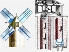 Bâtiments de la machine de Marly (également sur commune de Louveciennes) - English: Machine of Marly. Windmill with jars. Pond of Clagny.