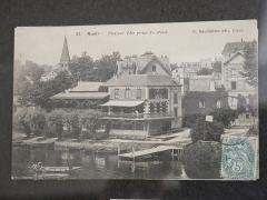 Restaurant Fournaise, dans l'île des Impressionnistes (ancienne île du Chiard) - English: The maison Fournaise seen on the island from the bridge in Chatou (Yvelines) circa 1900.