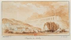 Aqueduc -  Les aqueducs de Marly qui conduisent à Versailles. Les eaux élevées par la Machine, dessin de Marchand, Cécile (17..-18..)