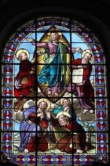 Eglise Saint-Nicolas - Deutsch: Katholische Kirche Saint-Nicolas in Maule im Département Yvelines (Île-de-France/Frankreich), Bleiglasfenster im Chor; Darstellung: Auferstehung Jesu, Elias (links oben), Moses (rechts oben), Apostel Johannes, Jakobus und Petrus (unten)