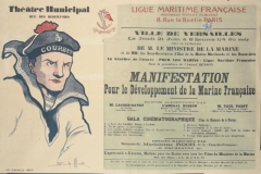 Théâtre municipal ou Théâtre Montansier - English: whole: the title and text are arranged over the right-hand side, against a grey-blue background, mainly in black but with the sponsor details in red. The image occupies the left, set against a plain background. image: a portrait depiction of a French sailor wearing a cap inscribed 'Courbet'. text: Théâtre Municipal RUE DES RESERVOIRS LIGUE MARITIME FRANÇAISE RECONNUE D'UTILITÉ PUBLIQUE 8, Rue la Boétie, PARIS VILLE DE VERSAILLES Le Jeudi 21 Juin à 8 heures ¼ du soir SOUS LE PATRONAGE DE M. LE MINISTRE DE LA MARINE et de MM. les Sous-Sécretaires d'Etat de la Marine Marchande et des Beaux-Arts Au bénéfice de l'œuvre 'POUR NOS MARINS' Ligue Maritime Française Sous la présidence de l'Amiral BESSON MANIFESTATION Pour le Développement de la Marine Française BRÈVES ALLOCUTION PAR M. LACOUR-GAYET de Institut: 'Etats-Unis et France' L'AMIRAL BESSON Membre du Comité Directeur de la Ligue Maritime Française M. PAUL PARSY chargé de Missions en Orient: 'l'Effort de la Ligue Maritime Française' GALA CINÉMATOGRAPHIQUE (Films du Ministère de la Marine) 1. L'Ecole des Fusiliers Marins à Lorient; 2. Tir de guerre en Adriatique; 3. Les marins français occupent l'ile de Rouad (Côte de Syrie); 4. Les hydravions à Dunkerque; 5. Une Chasse aux sous-marins 6. Glorieux Équipage; 7. Bombardment de la côte de Syrie; 8. Le vapeur français 'GARD' qui vient de couler un sous-marin allemand; 9. Voyage d'un paquebot dans la zone dangereuse. POÉSIES MARITIMES PAR Mademoiselle Madeleine ROCH, de la 'Comédie-Française' ORCHESTRE L'après-midi à 3 heures, Matinée pour les Ecoles avec tous le Films du Ministère de la Marine Les prix des places pour la soirée de gala seront les prix habituels du Théâtre Municipal - Location Mercredi 20 et Jeudi 21. Le cinématographe est mis gracieusement à la disposition de la Ligue Maritime, par M. Girard. [artist's signature] IMP. G.BATAILLE PARIS [][address]. French Maritime League. Recognized as a charity [address]. Town of Versailles. Thursday 21 June at 8.15 p.m. Under the patronage of the Minister for the Navy and the Under-Secretaries of State for the Merchant Navy and the Arts. For the benefit of the charity 'For Our Sailors'. French Maritime League. Under the Presidency of Admiral Besson. Event for the Development of the French Navy. Brief speeches by M. Lacour-Gayet of the Institut: 'The United States and France',Admiral Besson, a member of the Committee, Director of the French Maritime League, M. Paul Parsy, special envoy to the Orient: 'The Effort of the French Maritime League'. Cinematographic Gala (Films from the Ministry for the Navy) 1. The School of the Marines at Lorient; 2. War shooting in the Adriatic; 3. French sailors occupying the island of Rouad (on the Syrian coast); 4. Seaplanes at Dunkirk. 5. A submarine hunt. 6. A glorious crew. 7. Bombardment of the coast of Syria. 8. The French steamship 'Gard' which has just sunk a German submarine. 9. Journey by a steamer into a dangerous zone. Maritime poetry by Mademoiselle Madeleine Roch, of the Comédie-FrançaiseOrchestraIn the afternoon at 3 o'clock, Schools Matinée with all the films of the Ministry for the Navy. The prices of seats for the gala evening will be the usual Municipal Theatre prices. Booking Wednesday 20 and Thursday 21. The projector has been made available to the Maritime League free of charge by M. Girard. Physical description VISA No. 14375. Printed paper stamp, inscribed 'AFFICHES 20c et 2-10', applied upper right. Inscription 18807 Inscription U ANCILLOTTI 8, Ave de Sceaux VERSAILLES Catalogue number         Art.IWM PST 11100  Subject period     First World War  Production date     1916  Place made     France  Materials         medium: lithograph and letterpress        support: paper  Dimensions         Support: Height 799 mm        Support: Width 1197 mm  Alternative Names         object category: Poster  Creator         Unknown (artist)        Imprimerie G Bataille, Paris (printer)        Ligue Maritime Française (publisher/sponsor)  Category      posters