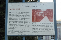 Palais Rose - Deutsch:   Palais Rose in Le Vésinet im Département Yvelines (Île-de-France/Frankreich), Erklärungstafel