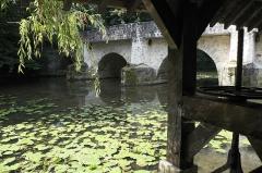 Vieux pont sur l'Yerres dit de la Reine Blanche - Deutsch: Alte Brücke (vieux pont) und Waschhaus (lavoir) in Boussy-Saint-Antoine im Département Essonne (Île-de-France/Frankreich)