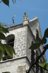 Eglise - Deutsch: Katholische Pfarrkirche Saint-Barthélémy in Boutigny-sur-Essonne im Département Essonne (Île-de-France/Frankreich), Löwe mit Wappen am Turm