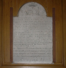 Eglise Notre-Dame - English: Crosne (Essonne), epitaph of Jancen and his spouse in the church of Crosne