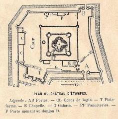 Tour Guinette - Français:   Plan du château d\'étampes