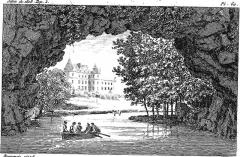 Domaine de Méréville - Français:   Château_de_Méréville_et_son pont de roches,_vue_des_jardins__dessin_de__M._Bourgeois_(Salon_de_1808)