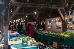 Halle - English:  Medieval tradition is respected, stalls of perishables are on north!.