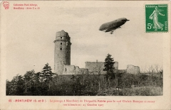 Ancien château - English: Airship Lebaudy Patrie,  in Monthlery, near Paris- France in 1907 - vintage postcard - personal collection
