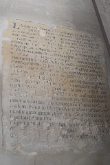 Eglise - Deutsch: Katholische Pfarrkirche Saint-Germain in Saclas im Département Essonne (Île-de-France/Frankreich), Inschrift