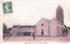 Eglise Saint-Denis - Carte postale de la place du Colonel Flatters à Wissous, France.