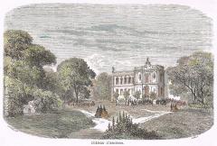 Château - English: Old engraving print around 1860 of the Château d'Asnières, near Paris, France
