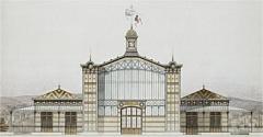 Dépôt de bois -  Gare du Champ de Mars, Paris. Le bâtiment a été remonté à Asnières-sur-Seine, où il sert de gare électrique de Bois-Colombes de 1924 à 1936.